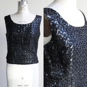 Vintage 1960s Sequined and Beaded Cocktail Top